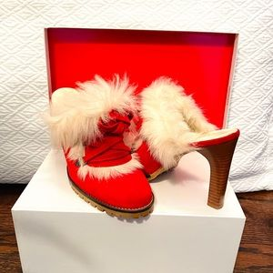 Coach Red Suede Boot Mule Heels with fur Italy